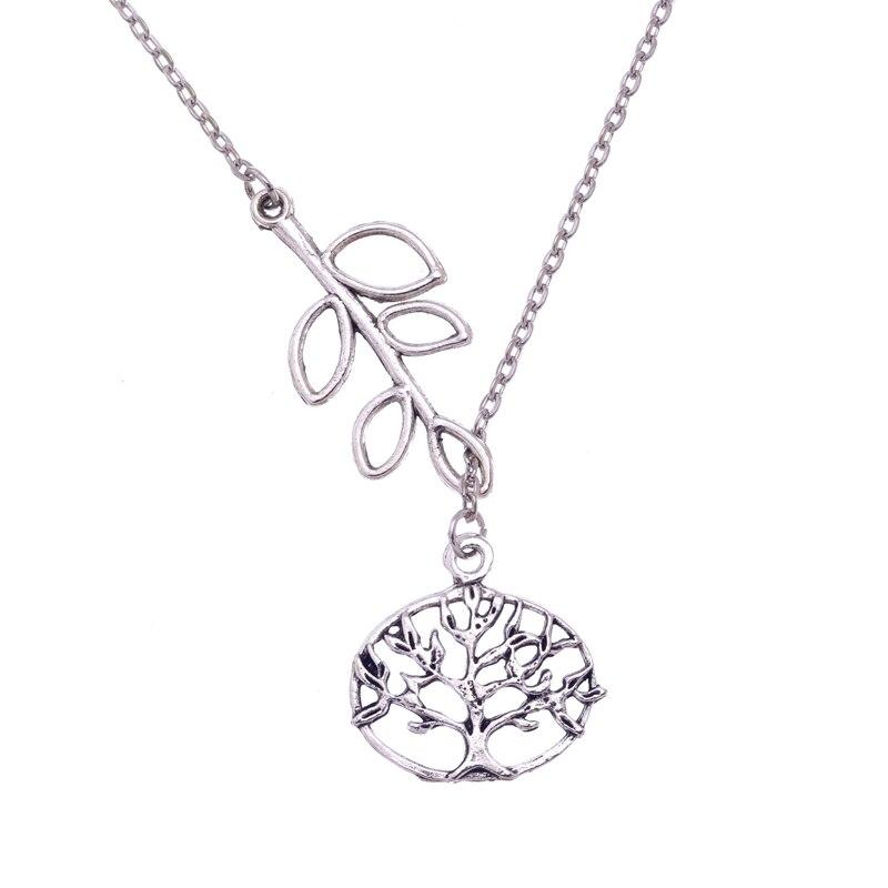 cfcebc8e7161 Infinito y árbol Árbol de la vida colgante collar de cadena larga mujeres  de la vendimia 2017 DIY árbol collares joyería 10 piezas 55 CM S5821