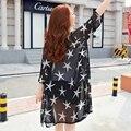 Frete Grátis 2016 verão estilo Coreano estrelas impresso chiffon camisas de manga longa plus size maternidade moda ar