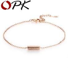 OPK Rose Gold Color Woman Anklets Casual/Sporty Courge Belief Wisdom Luck Stainless Steel Women Ankle Jewelry Bracelet GZ016