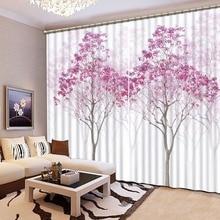 3D шторы печать Blockout фото шторы ткань для комнаты спальня окна белый клетчатый фиолетовый цветок бабочка на заказ s
