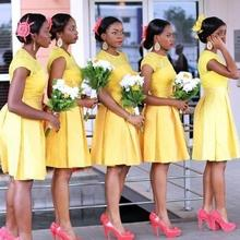 elegant beautiful short Bridesmaid Dresses 2016 new o neck lace yellow  women formal guest dress for 73472d7c5252