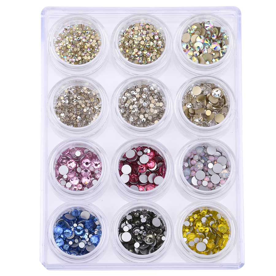 Glass flatback rhinestones for nails ss4~ss20 strass crystal ab nail art rhinestones decoration set color mix 3842~4408pcs YST01 ab rhinestones for nails glass mix size clear strass nail art decorations 3d nail rhinestones on nails art manicure mjz00280