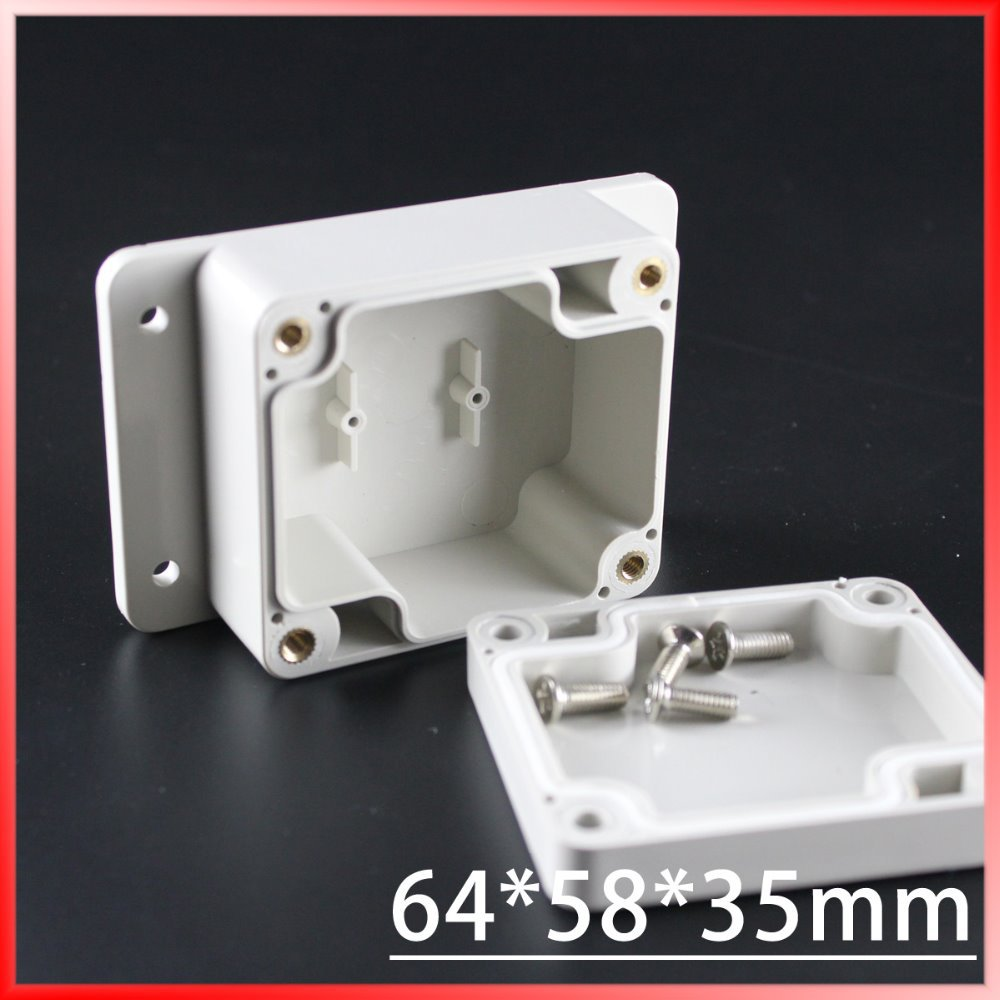 (1 piece/lot) 64*58*35mm Grey ABS Plastic IP65 Waterproof Enclosure PVC Junction Box Electronic Project Instrument Case waterproof abs plastic electronic box white case 6 size
