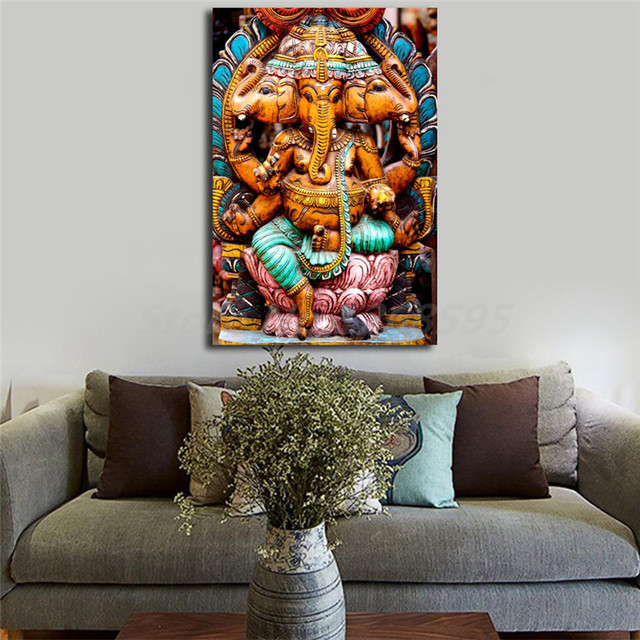 Lord Ganesh Wood Carving Oval Ornament Canvas Posters Prints Wall ...