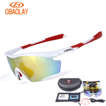 OBAOLAY 5 Lens Cycling Glasses Road Riding Polarized Sunglasses Night Version Fishing Outdoor MTB Bike Goggles Bicycle Eyewear