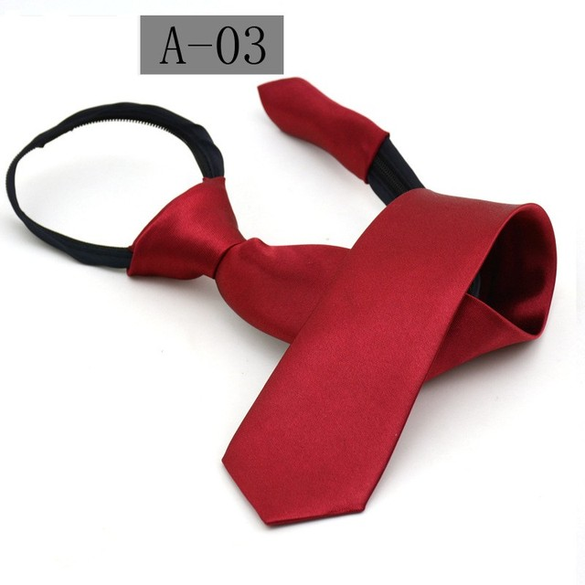 student zip tie for women 38*6cm lazy ties business zipper necktie team solid ties red dark blue 10pcs/lot
