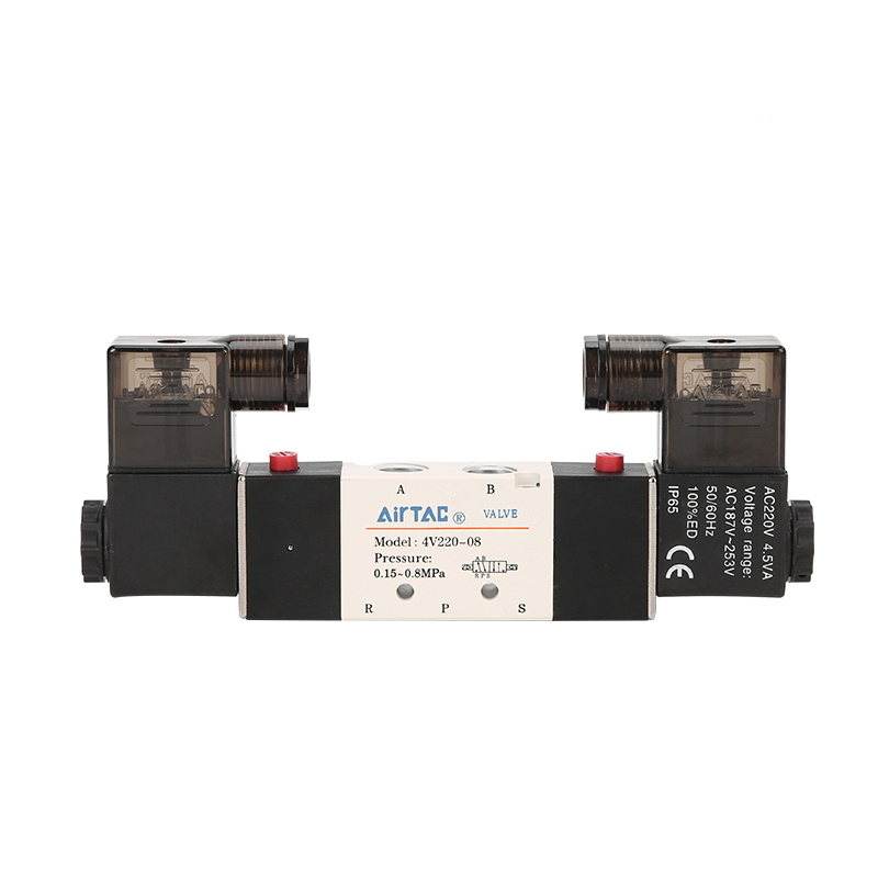 Airtac 1/4'' BSP 1/4 Inch 4V220-08 5 Ways 2 Positions Pneumatic Air Solenoid Valve Double Head DC 12V 24V AC 110V 220V 4v220 08 pneumatic valve 12v 24v 110v 220v dc 1 4 2 position 5 way air solenoid valve