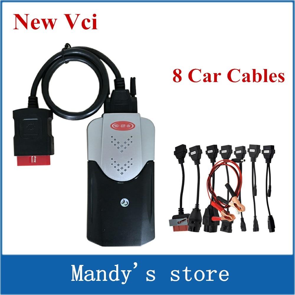 Цена за VD TCS CDP PRO плюс новые VCI + LED кабель сканер для автомобиля/Грузовик Диагностические инструменты + 8 шт. автомобиля Кабели комплект для автомобиля + DHL Бесплатная доставка
