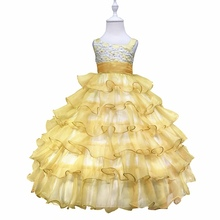 Free Shipping Factory Wholesale Ball Gown Princess Dress Gold Flower Girl Dresses For Weddings kids dresses for girls 2-10 Years цена и фото