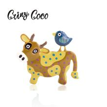 Cring Coco 2019 Enamel Cow Brooches for Women Boys Girls Birthday Gift Alloy Pin Metal Animal Bird Brooch Broche Banquet Pins