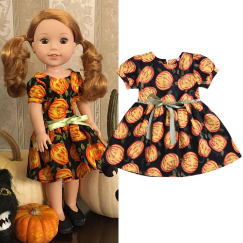 2018 Brand New Toddler Kids Baby Girls Halloween Pumpkin Pageant Party Formal Dress Puff Sleeve O-Neck Bow Belt Dresses  6M-5T