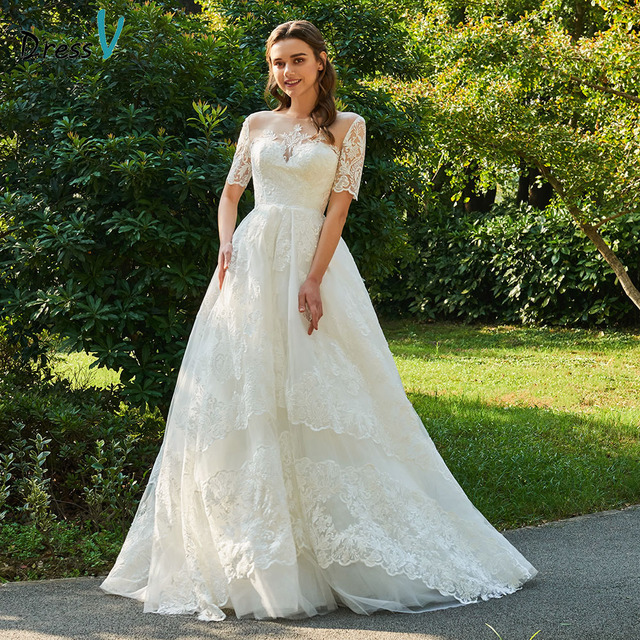 Dressv ivory wedding dress scoop neck short sleeveless bridal elegant outdoor&church appliques button ball gown wedding dresses