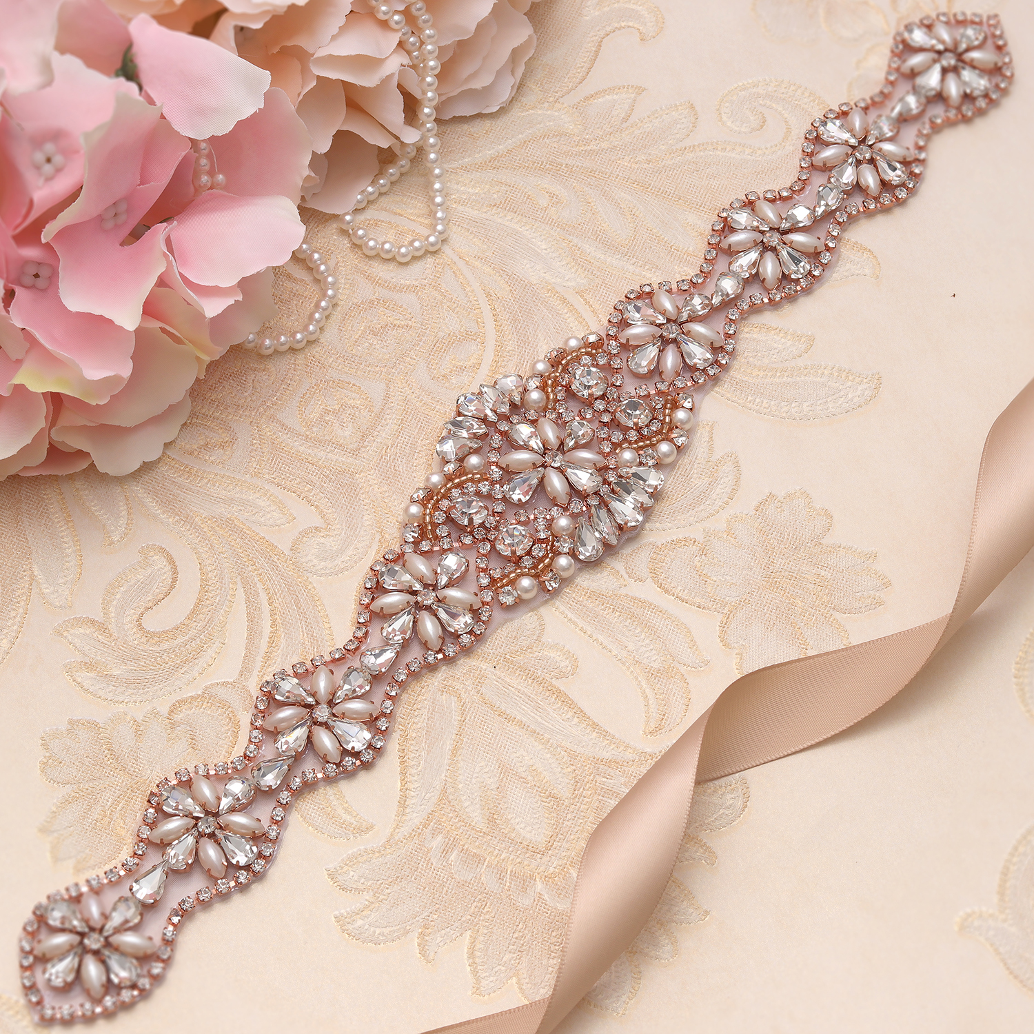 MissRDress Elegant Pearls Wedding Belt Rhinestones Bridal Belt Rose Gold Crystal Bridal Dress Sash For Wedding Accessories JK831