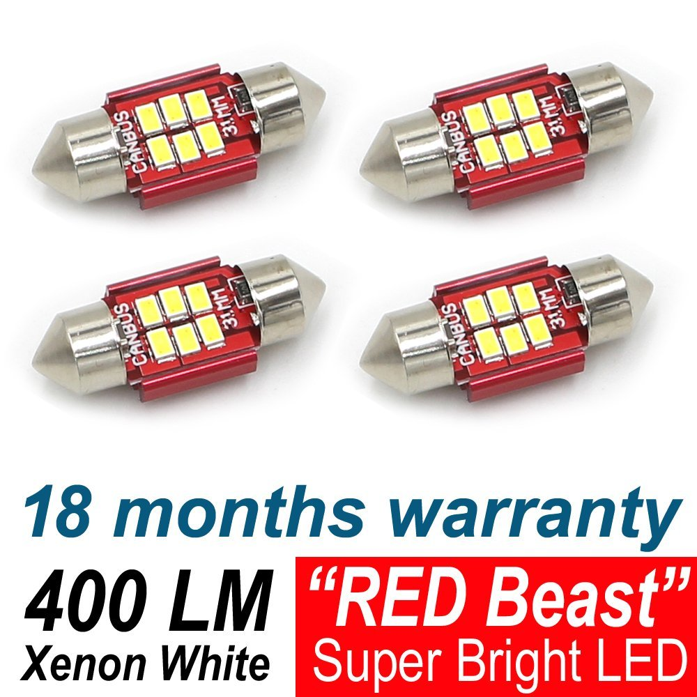 4X 3020 TMH 6LED Chipset Canbus Error Free 1.25 31MM Xenon White Interior Door Courtesy Map Car License Plate Dome Light