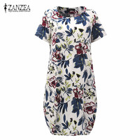 ZANZEA Print Floral Dress 2016 New Summr Boho Style Womens Short Sleeve Dresses Casual Vintage Vestidos