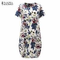 ZANZEA Print Floral Dress 2016 New Summr Boho Style Womens Short Sleeve Dresses Casual Vintage Vestidos