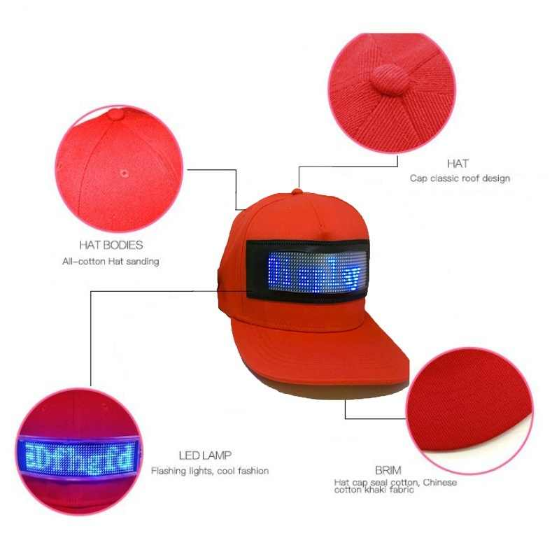 e38ac1fb1 LED Display Screen Hat Lighted Glow Club Party Sports Athletic Travel  Flashlight Baseball Golf Hip-hop Flash Performance Chapeau