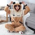 Корея мужская браун животных пижамы установить мягкий теплый панда с капюшоном наборы kawaii двойной карман любителей зимних толстые пижамы костюмы 1120