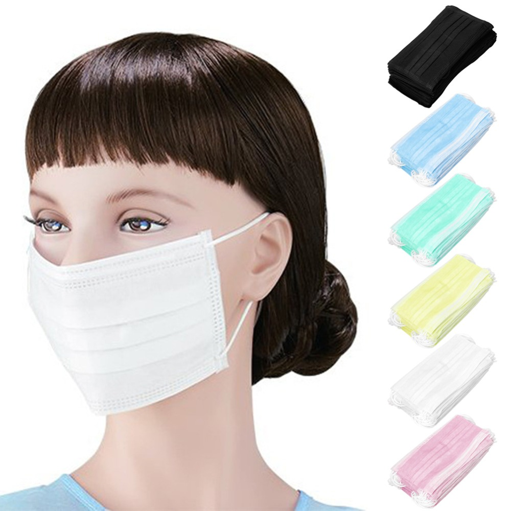 50Pcs 3-Ply Anti-Dust Disposable Surgical Medical Salon Earloop Face Mouth Masks Green/Yellow/White/Pink/Blue/Black