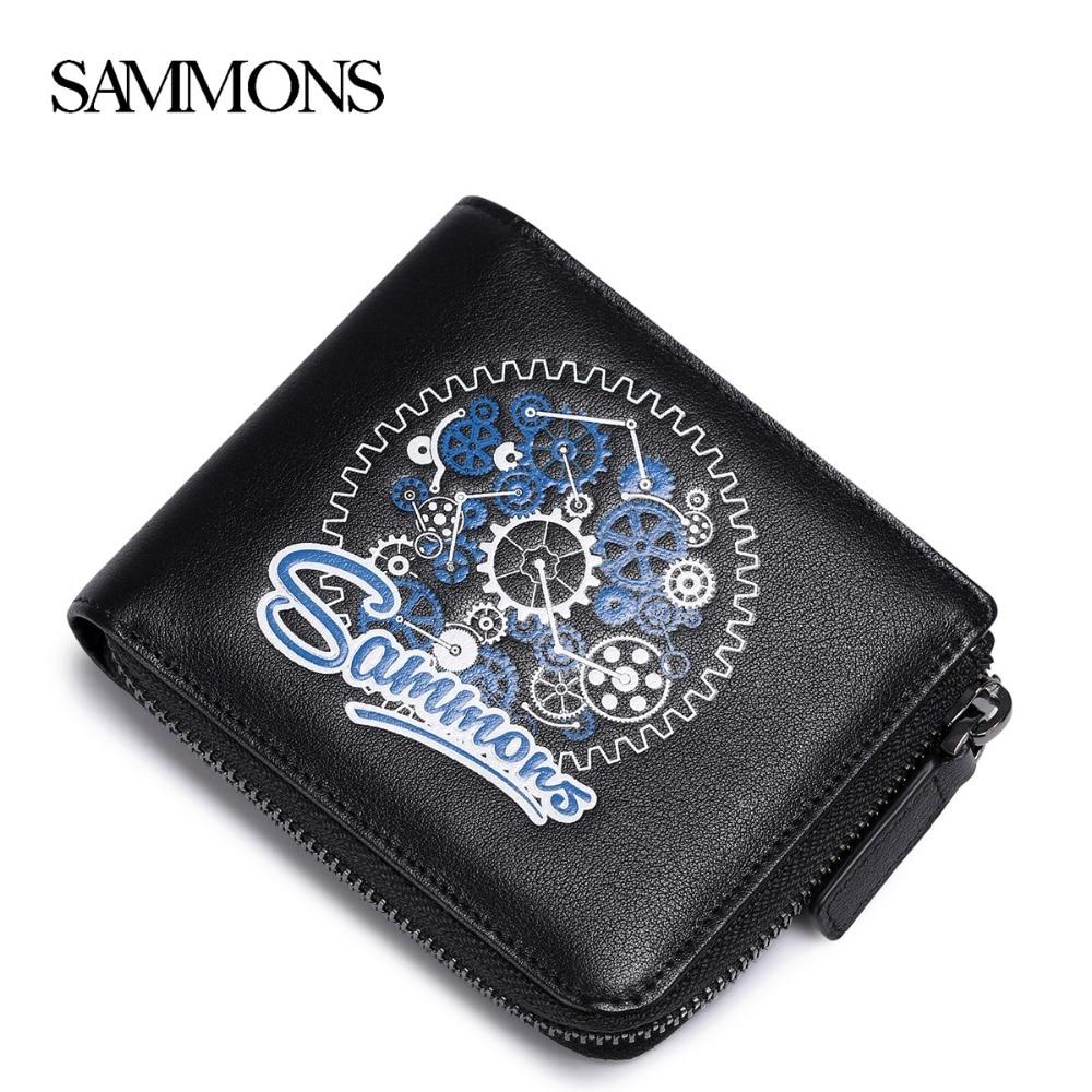SAMMONS Men s Genuine Leather Wallets Fashion Zipper Coin Purse Male Leisure Leather Snow Flower Wallet