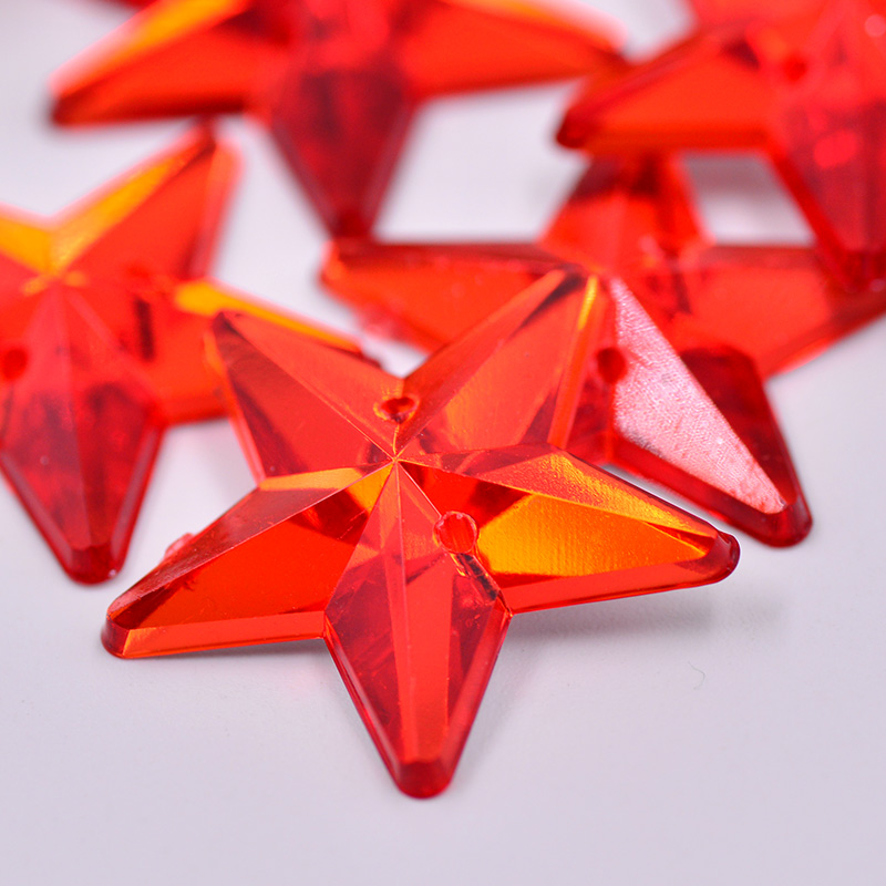 a34674ba2b US $6.49 JUNAO 50pcs 25mm Big Size Red Color Sewing Star Rhinestones ...