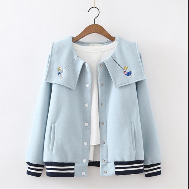 Invierno nueva colección japonesa mori chica cuello de marinero de lana chaqueta de cuello bordado de dibujos animados lovely mujeres de muy buen gusto de la chaqueta