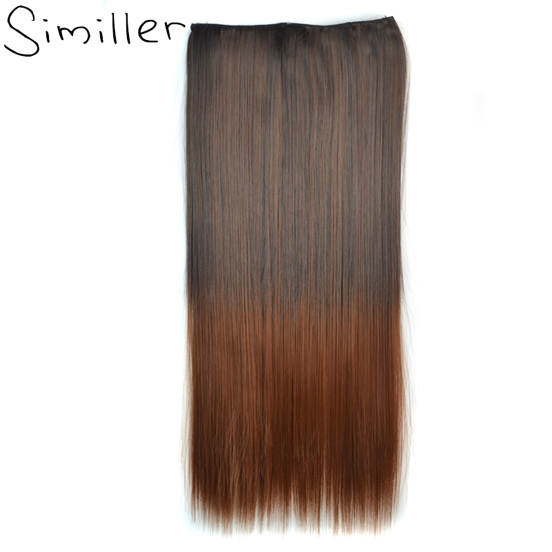Similler 24 Straight 3 4 Full Head Synthetic Hair Extensions Clip On in Hairpieces 5 Clips