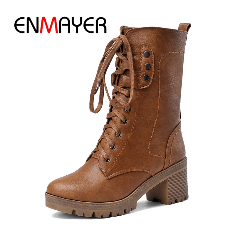 ENMAYER New Arrival women Lace up round toe mid calf boots lady square heel high heels Big size 34 43 ZYL304