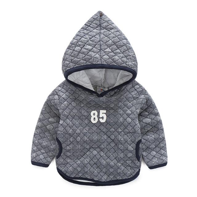 Bebé de la tela escocesa sudadera 2016 niños del otoño del resorte Hoodies boy Suéter de Manga Larga Outwear Tops Deportes Casual Tees