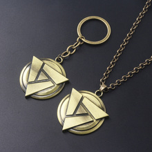 Game Dota 2 Keychains Disc Pendant Triangle Badge Man car Vintage Keyring Jewelry Gift for Fans