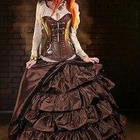 Faux Leather Zipper Steampunk Overbust Corset Steel Boned Waist Training Push Up Bustier Sexy Gothic Women