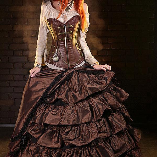Corzzet victoriana deshuesado acero steampunk overbust corsé de cuero con cremallera que adelgaza la cintura empuja hacia arriba el bustier sexy mujeres góticas ropa