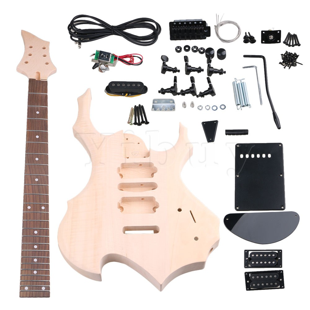 Yibuy Maple HSH Pickup 1Tone 1Volumne Knobs Electric Guitars DIY Builder Kit With All Accessories yibuy maple 3 single coil pickup 1tone 2volumne knobs electric guitars diy builder kit with all accessories