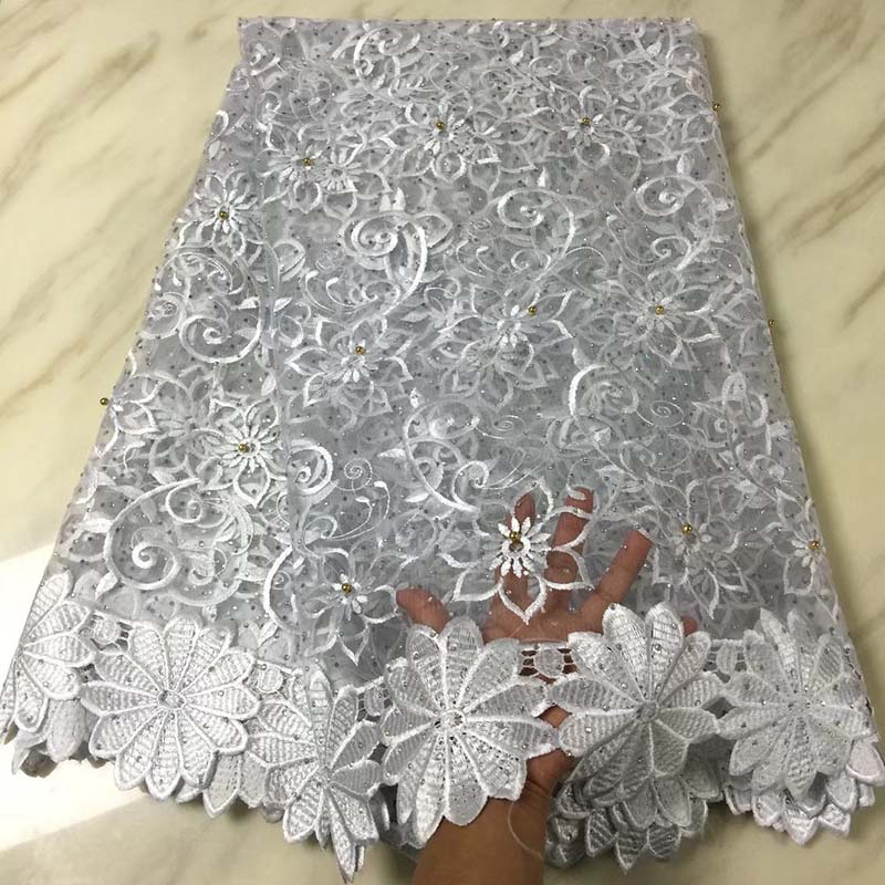 White Color African Net Lace Fabric 2018 High Quality Tulle Lace French Mesh With Stones Nigerian