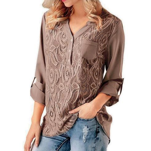 Women   Blouses   2019 Summer Lace Chiffon Casual Loose Tops Long Sleeve   Blouse     Shirt   Blusas Camisas mujer Plus Size 5XL
