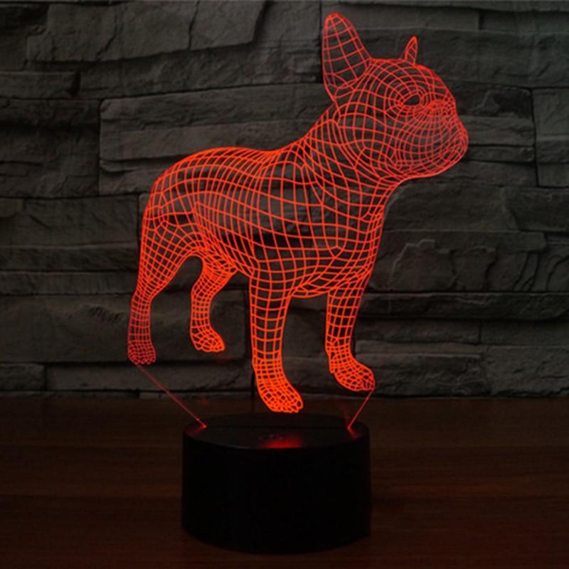 LED Colorful Table Lamp Dog Bulldog 3D Frence Nightlight Children Sleep Decoration Lighting For USB Birthday Gift House