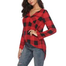 Spring and Summer 2019 Loose Shirt Women Amazons Short Chequered Deep V-collar Sleeve women clothes