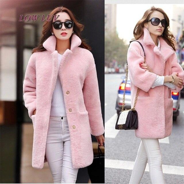 2017 Autumn and winter coat women long thickened cashmere coat ladies pink  coat slim cocoon wool winter coats womens AL237 232b7fc8d4