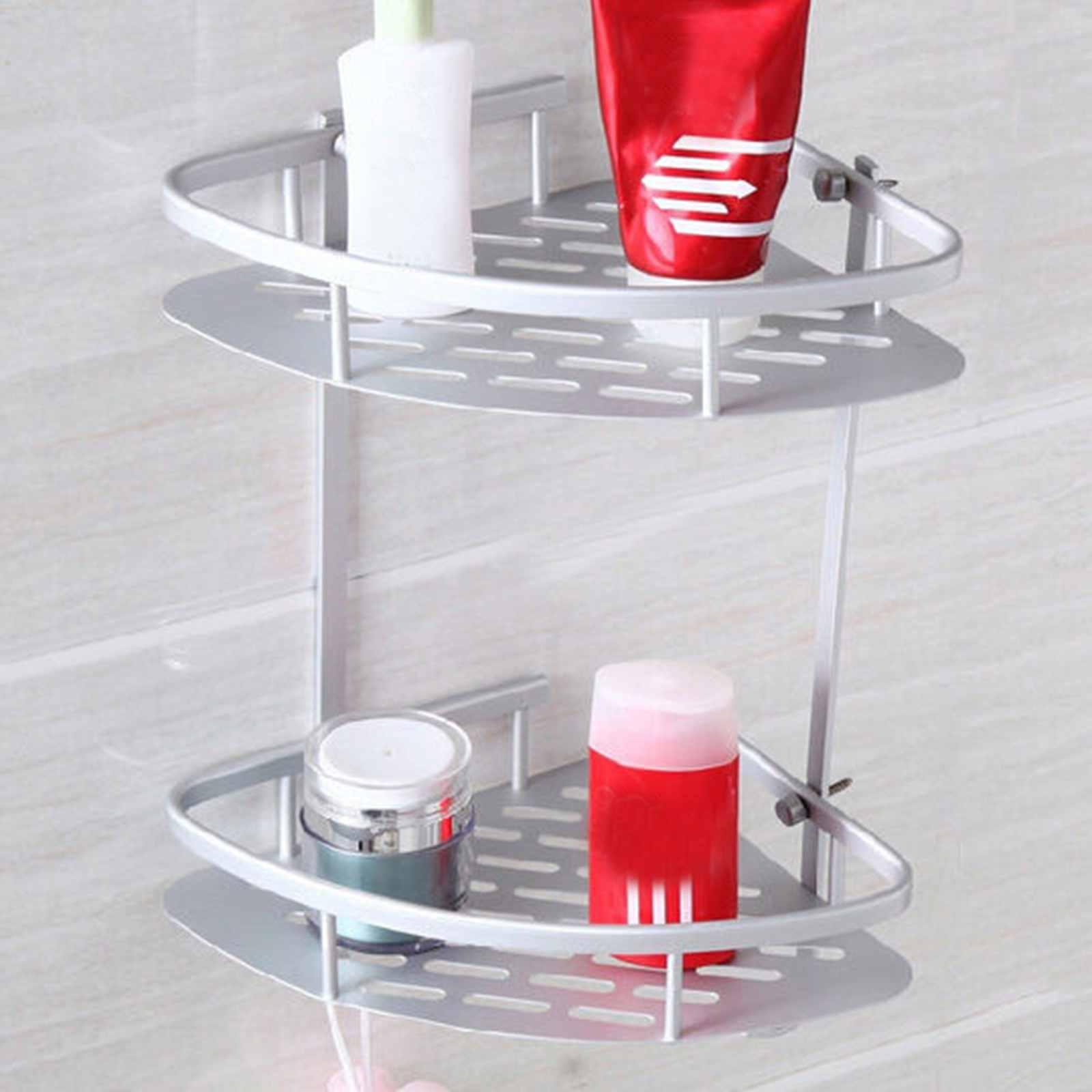 2 Tier Shower Bathroom Corner Storage Organizer Holder Shelf Basket Rack Caddy fixtures bathroom accessories 5231 solid brass chrome shower basket shelf tidy rack caddy storage holders