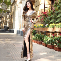 RUIYIGE 2017 Women Causal High Split Sequin Sexy Dress Deep V Neck Tunic Club Party Cocktail