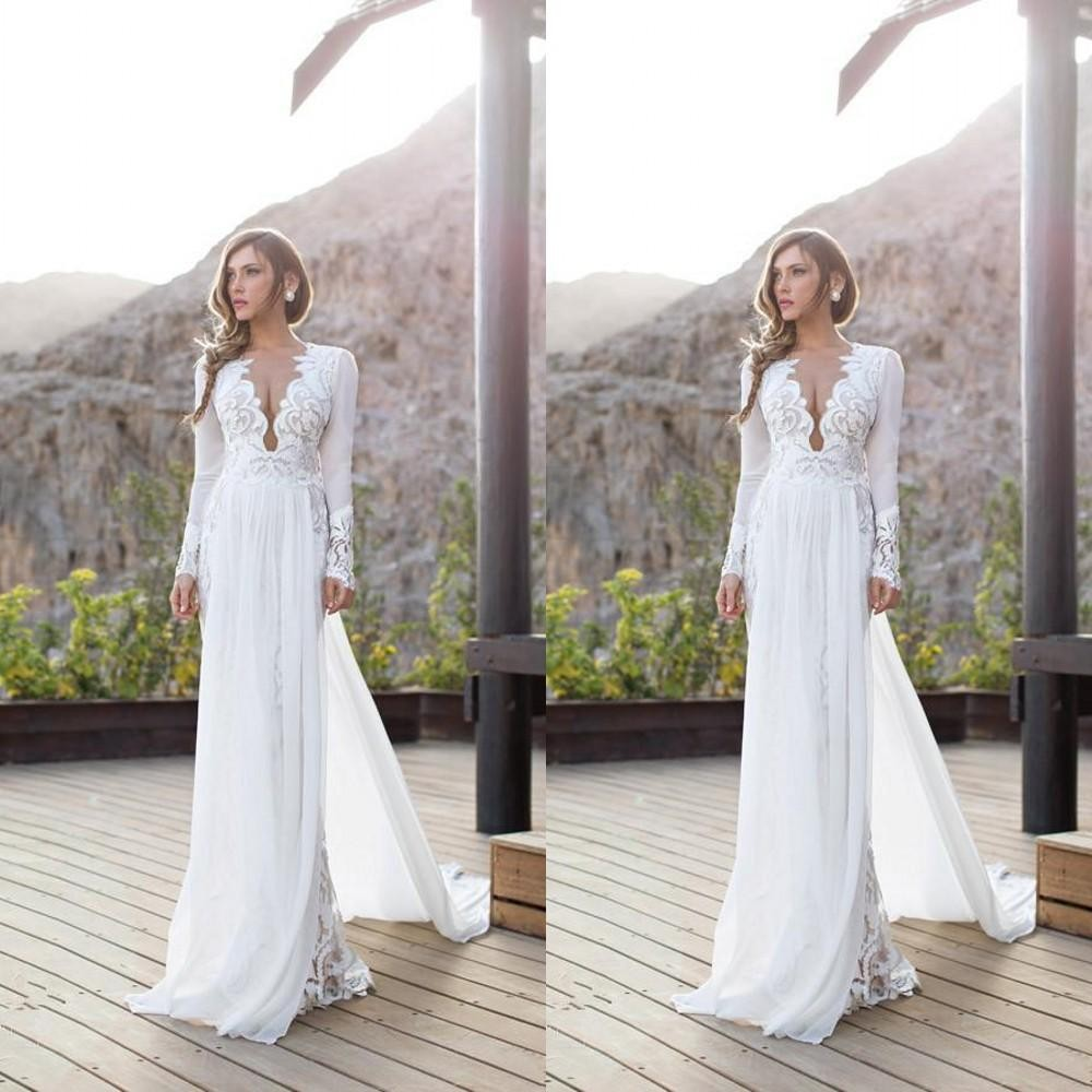 Sexy Bridal Gown Long Sleeve Shown bridal gown With Train V-Neck Vestido De Noiva abendkleider 2018 mother of the bride dresses