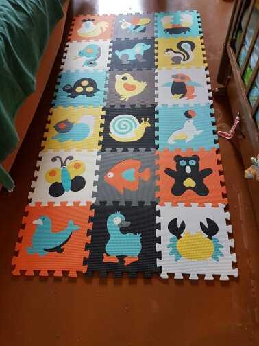 Mei qi cool baby play mat animal puzzle mats  Crawling Gym Rug Cartoon Floor Play Mat Baby's Climb Blanket Game Carpet Eva Foam