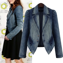 Plus Size XL-5XL Denim Jacket For Women Long Sleeve Turn-Down Collar Ladies Jacket Coat 2016 Autumn Fashion Female Jeans Jacket