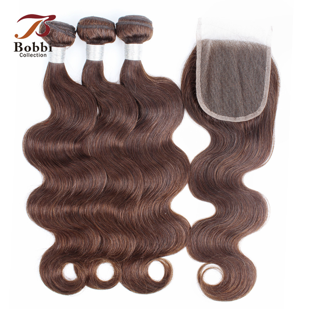 BOBBI COLLECTION Color 4 Chocolate Brown Body Wave Hair 2/3 Bundles with Lace Closure Indian Remy Human Hair Weave Medium Brown