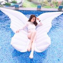 180 cm milžiniškas baltas angelas sparneliai Pripučiamasis baseinas plūduriuojantis oro masažas Lounger Vandens vasaros šalis žaislai drugelis Ride-on plaukimo žiedas