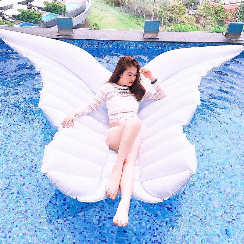 180cm Giant White Angel Wings Inflatable Pool Float Air Mattress Lounger Water Summer Party Toys Butterfly Ride-on Swimming Ring