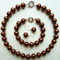 Großhandel preis 16new ^ ^ ^ 14mm Kaffee Südsee Shell perlen Halskette Armband Ohrring Hochzeit Jewel Set