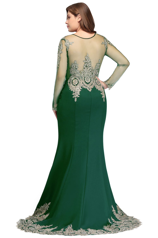 Élégante sirène verte grande taille longues robes de bal 2019 dentelle Applique perlée robe de bal robe de gala - 2