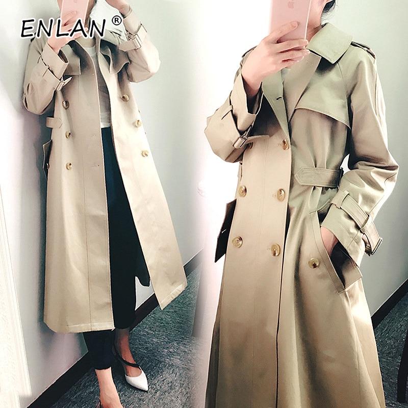 Khaki Kaki Tunique coat Printemps Automne Femmes Slim Fit Coréenne Double Breasted Long 2019 Trench Femelle Manteau 8fx1wrZ8