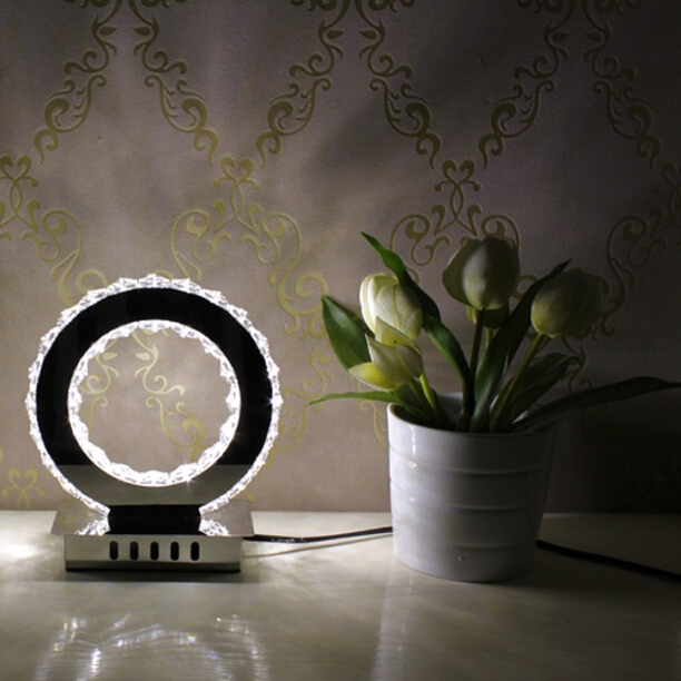 Free Shipping Hot Selling Crystal and Stainless Steel Fashion Modern Table lamp Children Desk Bedside Light Round